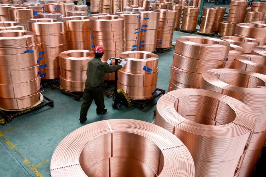 Stock bobines de cuivre